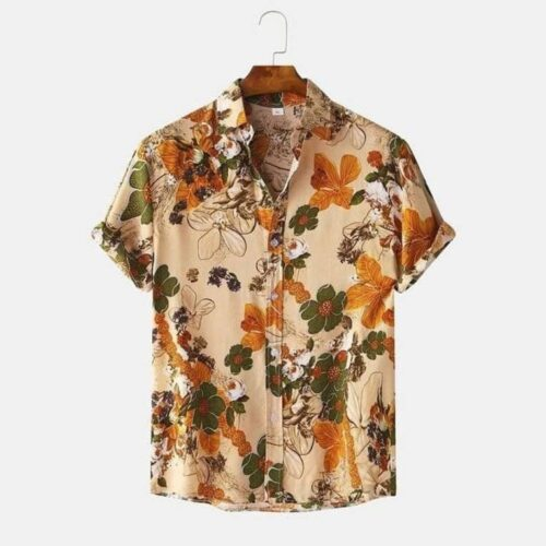 Imported Stretchable Lycra Printed Short Sleeve Shirt