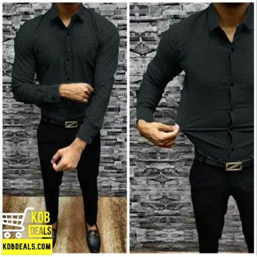 Lycra Stretchable Black Casual Shirt