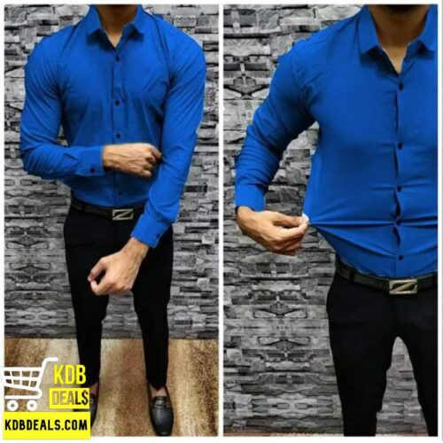 Lycra Stretchable Blue Casual Shirt