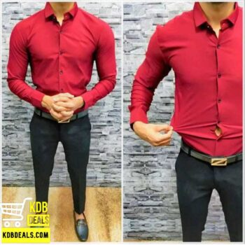 Lycra Stretchable Red Casual Shirt