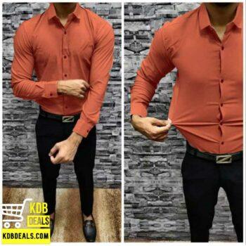 Lycra Stretchable Saffron Casual Shirt