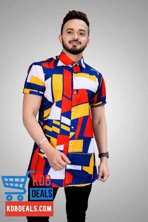 Men Muticolored Blue Shade Abstract Printed Shirt 1