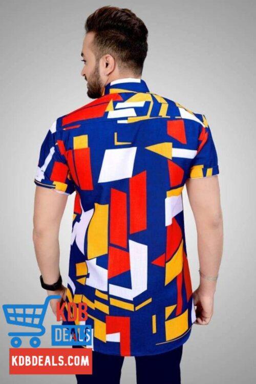 Men Muticolored Blue Shade Abstract Printed Shirt 3