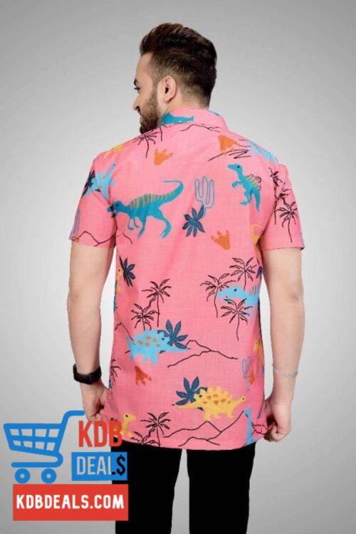 Men Pink Printed Regular Fit Shirt