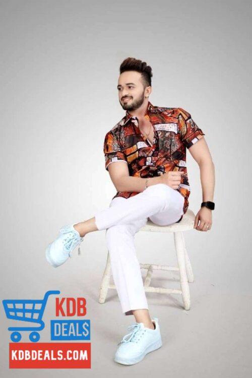 Men's Dark Printed Cotton Shirt