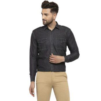 Men's Denim Black Shirt