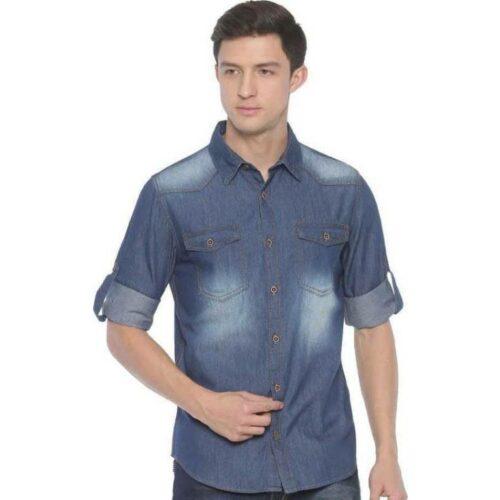 Men's Denim Blue Dyed Shirt