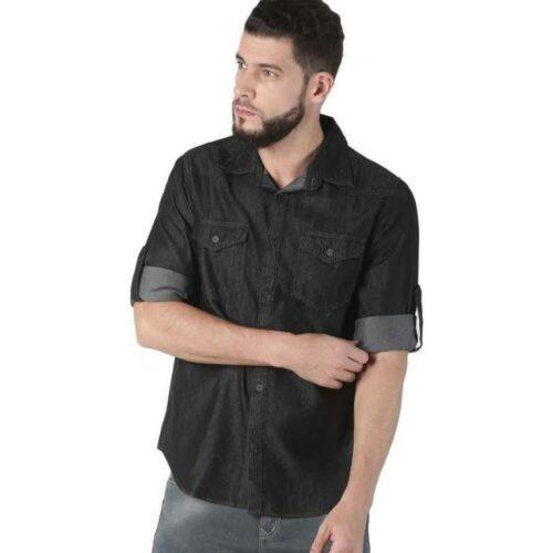 Men's Denim Green Shirt