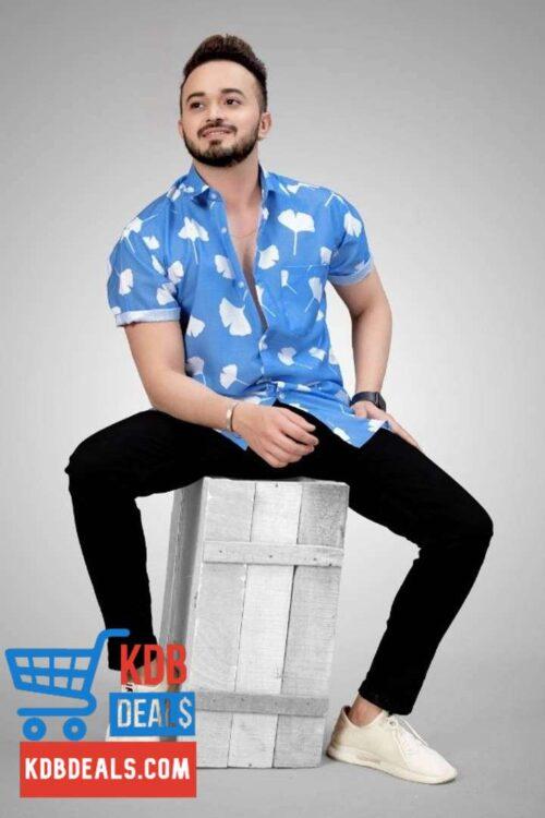 Mens Fabulous Blue Printed Shirt 3