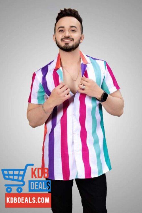 Multicolor Striped Men Printed Shirt