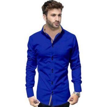 Partywear Solid Men's Blue Shirt