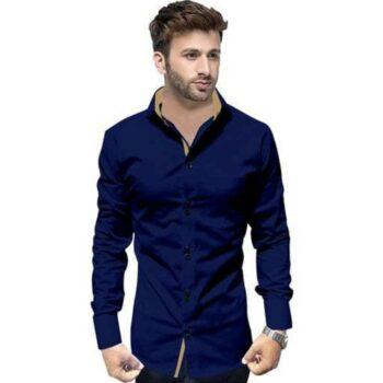 Partywear Solid Men's Navy Shirt
