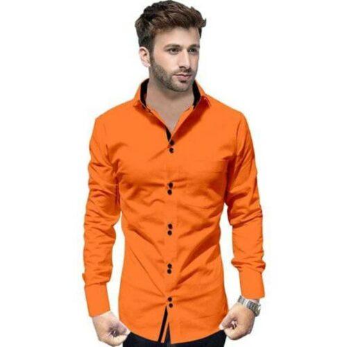 Partywear Solid Men's Orange Shirt
