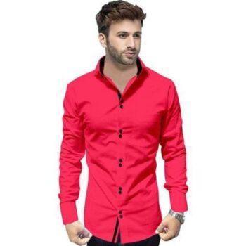 Partywear Solid Men's Pink Shirt