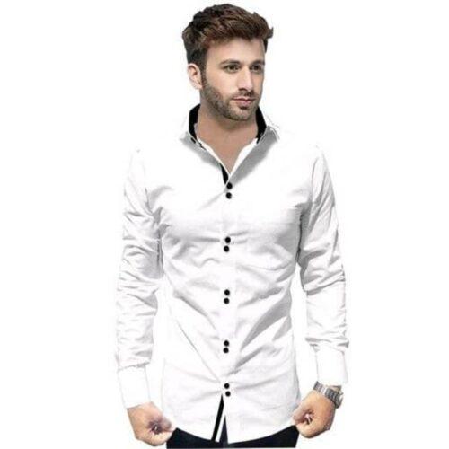 Partywear Solid Men's White Shirt