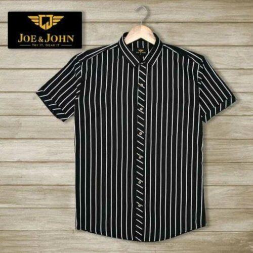 Short Sleeves Men Striped Black Shirt