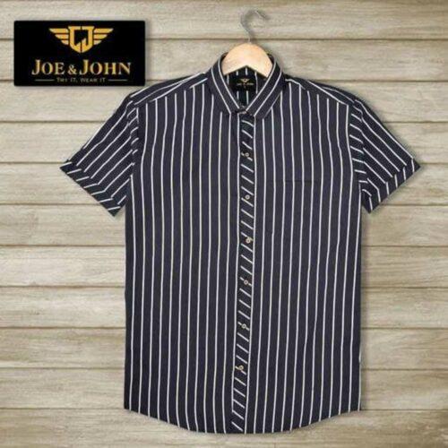 Short Sleeves Men Striped Navy Shirt