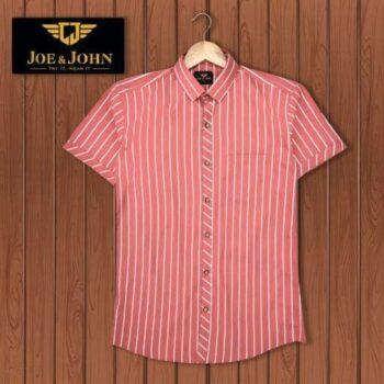 Short Sleeves Men Striped Red Shirt