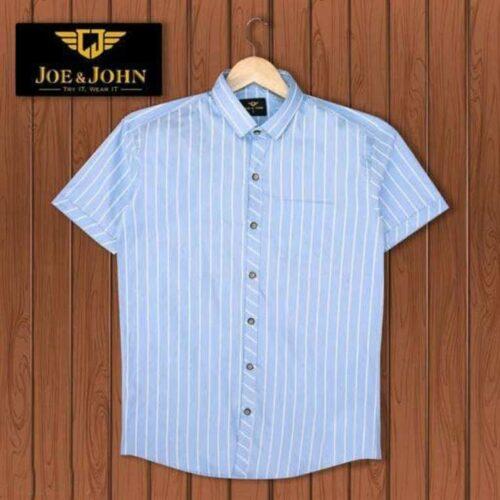 Short Sleeves Men Striped Sky Blue Shirt