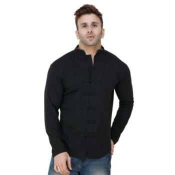 Soft Cotton Designer Button Black Shirt