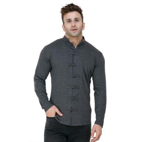 Soft Cotton Designer Button Dark Grey Shirt