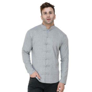 Soft Cotton Designer Button Light Grey Shirt