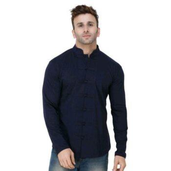 Soft Cotton Designer Button Navy Blue Shirt
