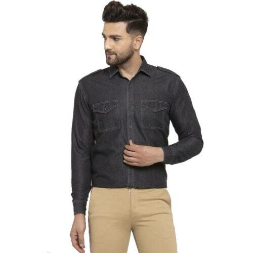 Solid Men's Formal Cotton Shirt (Black)