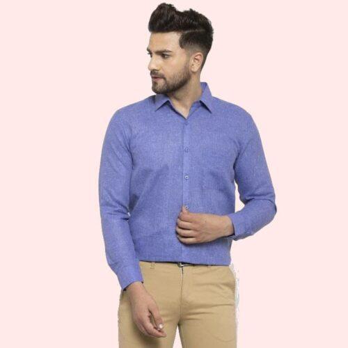 Solid Men's Formal Cotton Shirt (Blue)
