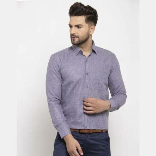 Solid Men's Formal Cotton Shirt (Grey)