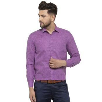 Solid Men's Formal Cotton Shirt (Purple)