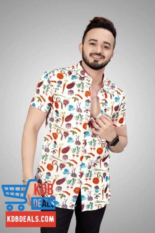 White Printed Men's Regular Fit Shirt