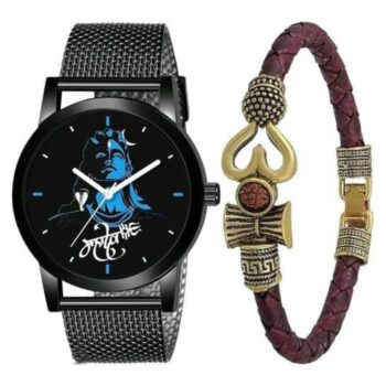 Analouge Metal Strap Mahadev and Om Bracelet Combo Watch for Boy and Men