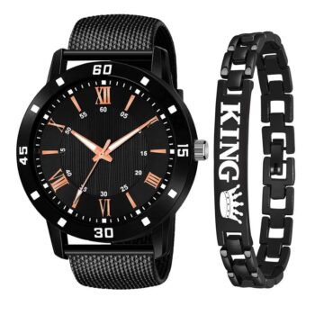 Analouge Rubber Strap and King Bracelet Combo Watch for Boy and Men