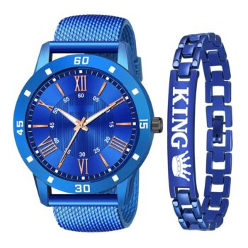 Analouge Rubber Strap and King Bracelet Combo Watch for Boy and Men (Blue)