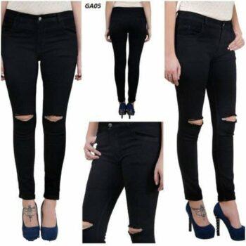 Black Damaged Denim Skinny Fit Jeans For Women