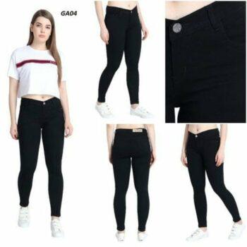 Black Silky Denim Skinny Fit Jeans For Women