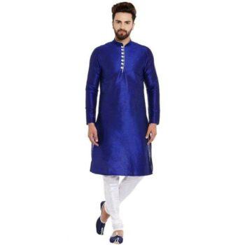 Blue Ethnic Kurta Set Traditional Kurta Pyjama Set for Men