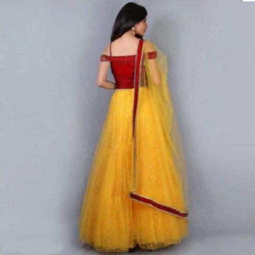 Red And Yellow Women Lehenga Choli