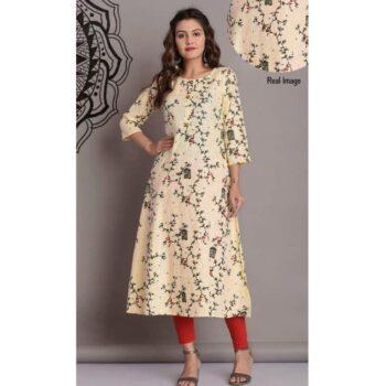 Cotton Slub Printed Anarkali Kurti for Women