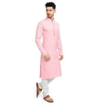 Designer Men's Baby Pink Solid Straight Cotton Kurta Pyjama Set