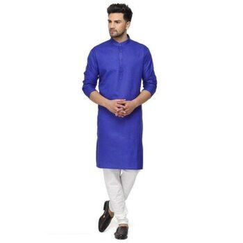 Designer Men's Royal Blue Solid Straight Cotton Kurta Pyjama Set