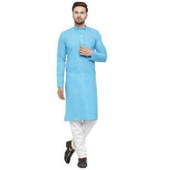 Designer Men's Sky Blue Solid Straight Cotton Kurta Pyjama Set