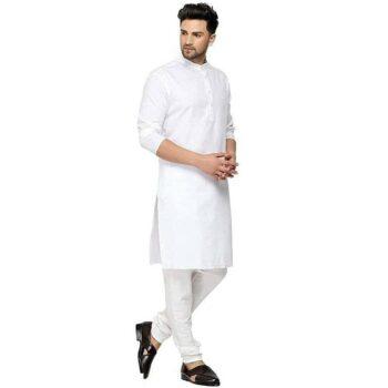 Designer Men's White Solid Straight Cotton Kurta Pyjama Set