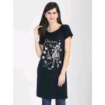Divine Voguish Long Top Cotton Printed Black