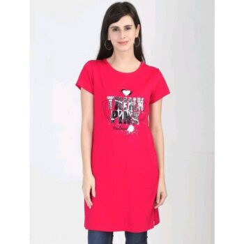 Divine Voguish Long Top Cotton Printed Red