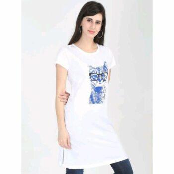 Divine Voguish Long Top Cotton Printed White