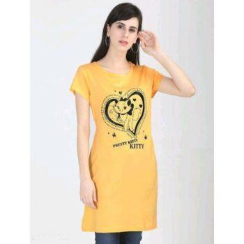 Divine Voguish Long Top Cotton Printed Yellow
