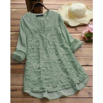 Fabric: Cotton Sleeve Length: Three-Quarter Sleeves Pattern: Embroidered