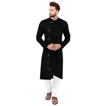 Ethnic Men Cotton Kurta Set Black